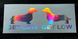 Get Low Slammed Dachshund Silver Hologram Neo Chrome Car Stickers Decals Scene