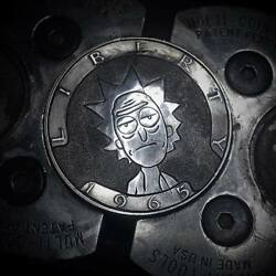 Hobo Nickel 1965 Kennedy half dollar silver hand carved Rick and Morty