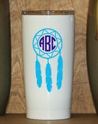 Personalized Powder Coated Tumbler With Dream Catcher Monogram. Choose Colors