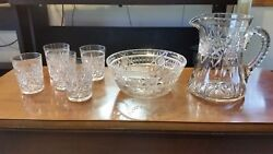 Signed Antique Hawkes Brilliant Cut Glass Large Pitcher, Bowl And 5 Glasses