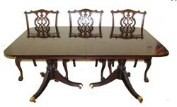 Antique George Ii Chippendale Revival Mahogany Dining Set C. Early 1900's