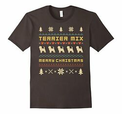 Mens TERRIER MIX Ugly Christmas Sweater T-shirt Gift For Xmas 2XL Asphalt