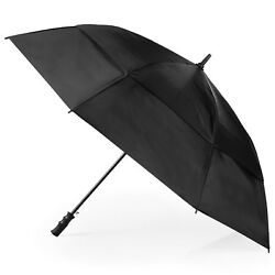 Golf Umbrella Double Vented Canopy 60 inch Windproof Automatic Open Black New