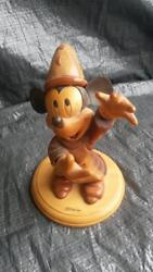 Extremely Rare Walt Disney Mickey Mouse Fantasia Wooden Figurine Statue