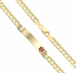 Free Engraving Ladies 14k Yellow Gold 5.5mm Curb Medical Bracelet 5.5in To 8in