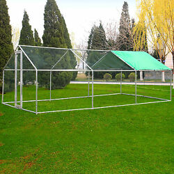 20 x 10 FT Large Metal Chicken Coop Poultry Cage Nesting Box Backyard Hen House