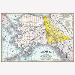 Alaska And Routes To Yukon Gold Fields, Antique Map 1904