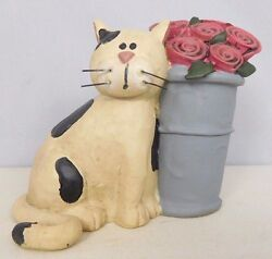 Black & White cat with a flower pot - New resin figurine - Blossom Bucket#81951A