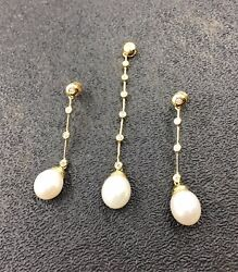14k Yg 0.50ct Diamond And Fresh Water Pearl Pendant With Earring Set Retail 3999