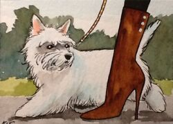 ACEO Original By Kit Lundwall Watercolor Ink Dog West Highland Terrier Woman