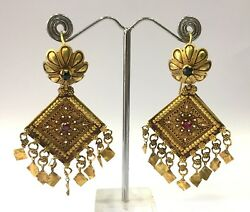 Vintage Antique Handmade 18k Gold Jewelry Earring Pair India