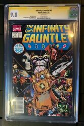 The Infinity Gauntlet 1 Cgc 9.8 Newsstand Variant Rare Ss Stan Lee