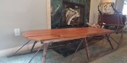 Antique Sleigh Coffee Table Rustic, Shabby Chic, Sled, Holiday, Christmas, Lodge