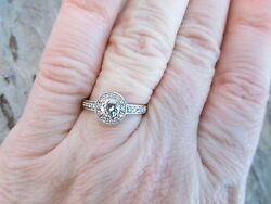 14 Kt White Gold Pave Diamond Halo Band Ring Custom Vintage Antique Repica New