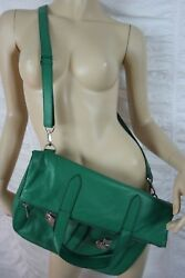 FOSSIL green 100% leather large fold over cross over messenger bag NWOT