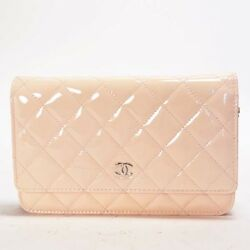 CHANEL Auth Chain Wallet Purse Matelasse Pink Enamel Ladies Fs Excellent #0551