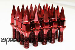 Z Racing 35mm Red Spike Lug Bolts 12x1.5mm For Bmw 3-series Cone Seat