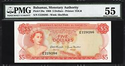 Bahamas 5 Dollars 1968 Pmg 55 About Uncirculated P.9e Queen Elizabeth Ii