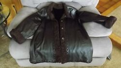 Authentic Mink And Brown Leather Winter Coat W/ Curly Lamb Trim Size M 10/12 Nice