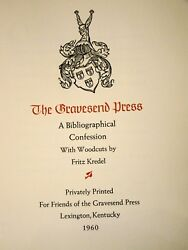 Gravesend Press A Bibliographical Confession. Woodcuts By Fritz Kredel. 1960