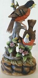 Royal Crown.2 Birds On Branch Figurine.plays Coca Cola Tune.on And Off Switch