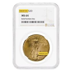 20 Gold Double Eagle Saint Gaudens Ngc Ms 64 Random Year