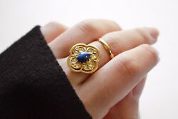 Blue Star Sapphire And Diamonds Gold Ring