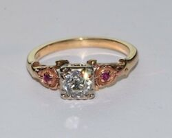 14k Yellow Gold Antique Old Miner Diamond And Ruby Ring Circa 1910, Size 7.25
