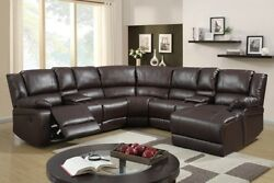 5pc Brown Bonded Leather Reclining Sofa Recliner Sectional Sofa Set Espresso