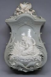 19th Century French Slip Decorated Celedon Green Lavabo Tank With Cover