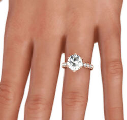 Diamond Ring Round 1.75 Carat Appraised 14 Kt Rose Gold Red Size 4.5 6 7.5 9