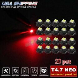 20x Red T4.7 Neo Wedge Led for A/C Climate Heater Control Dash Bulbs Lamp Light