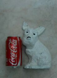 Vintage Shabby & Chic Cast Iron Scottish Terrier Dog Bookend Doorstop