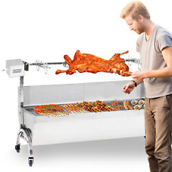 Large Stainless Steel Bbq Spit Roaster Rotisserie 46 Cooking Pig Lamb Chicken