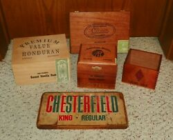 Vintage Chesterfield Cigarette Wood Sign And 4 Wooden Cigar Boxes