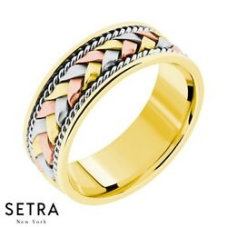 Hand Crafted Work Multi-tone Gold For Him And Hers Solid Wedding Band 14k Gold