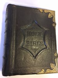Rare, Unique, Antique Early 1800's Family Holy Bible, Closing Clasps