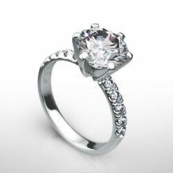 REAL ROUND BRILLIANT DIAMOND RING WOMENS COLORLESS VVS2 D 4 CT 18K WHITE GOLD