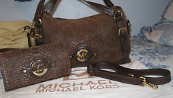 RARE MICHAEL KORS MK LOGO SNAKESKIN SUEDED HANDBAG PURSE AND WALLET CANNOT FIND!