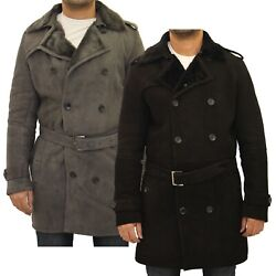 Mens Black / Grey Shearling Sheepskin Classic Double Breasted Winter Trench Coat