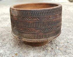 Old Scarce Primitive Handmade And Carved Terracotta Bowl-delicate Carving