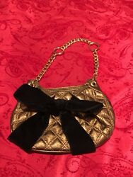 BCBG MAXAZRIA Bronze Metallic Quilted Bow Small Clutch Evening Bag MSRP $178