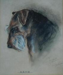 Beautiful Vintage Signed Pastel of a Scottish or Welsh Terrier named Bryn