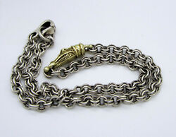 Vintage Rare Barry Kieselstein Cord Crocodile Sterling Silver 14k Gold Necklace