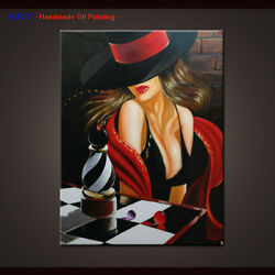 Handmade Canvas Modern Abstract Oil Painting Wall Art Decor Sexy Lady And Hats