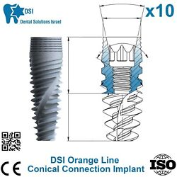 10x Dsi Dental Implant Conical Connection Active Hex Nobel Active Rp/np Iso