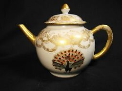 Fine 18th C Early Form Chinese Export Porcelain Peacock Teapot C.1760