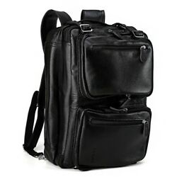 Men's Leather Luggage Messenger Shoulder Bag Backpack School Bag