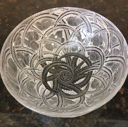 Renandeacute Lalique Pinsons Clear And Frosted Glass Bowl French Studio Signed