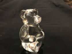 Steuben Crystal By David Dowler Teddy Bear Hand Cooler Signed Original Collect